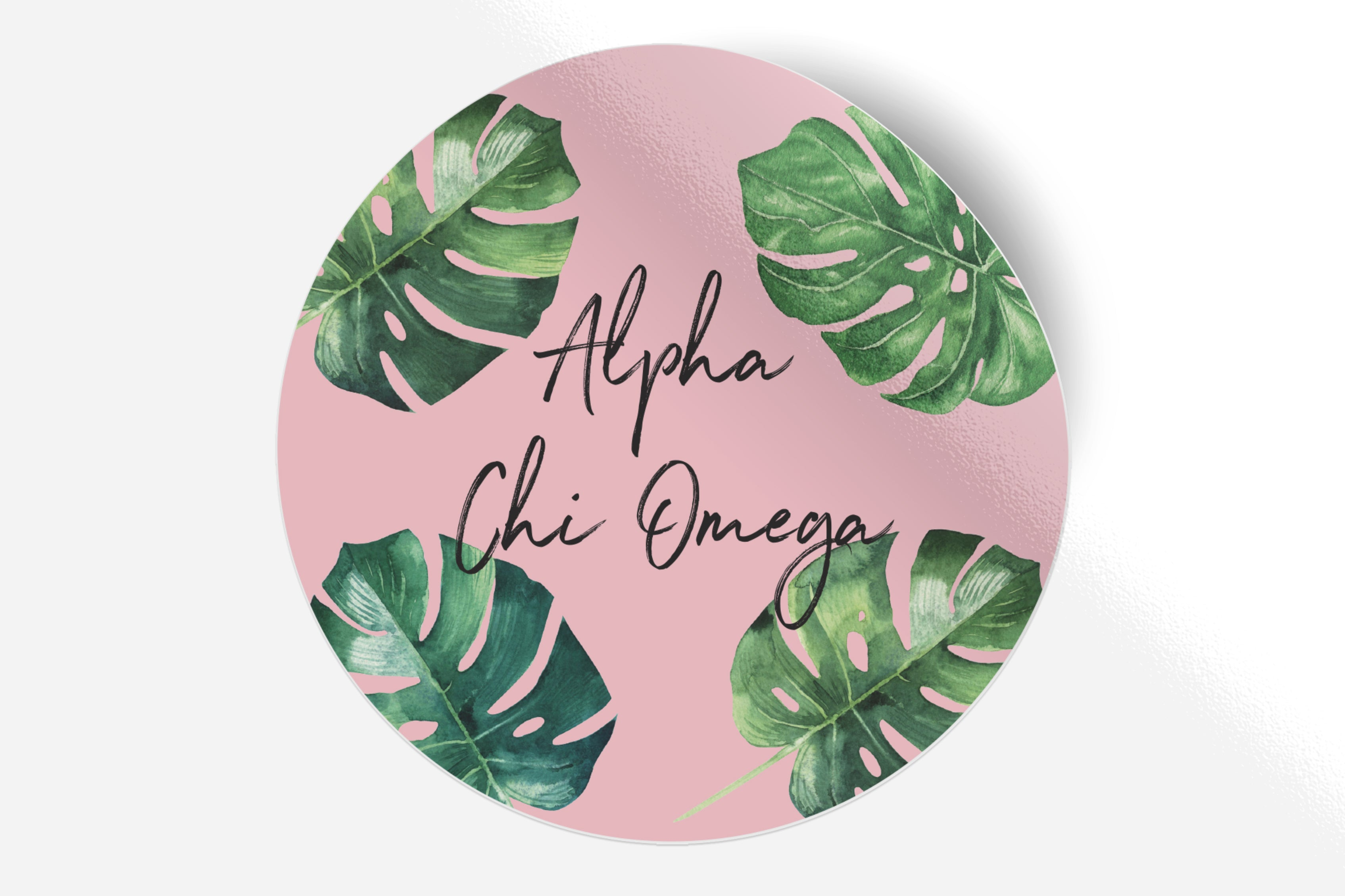 "Alpha Chi Omega - Pink Palm - 5"" Round Sticker"