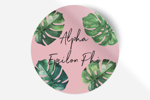 "Alpha Epsilon Phi - Pink Palm - 5"" Round Sticker"
