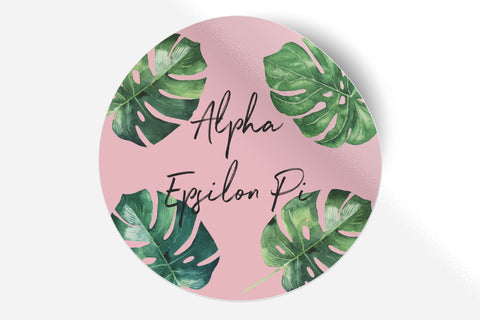 "Alpha Epsilon Pi - Pink Palm - 5"" Round Sticker"
