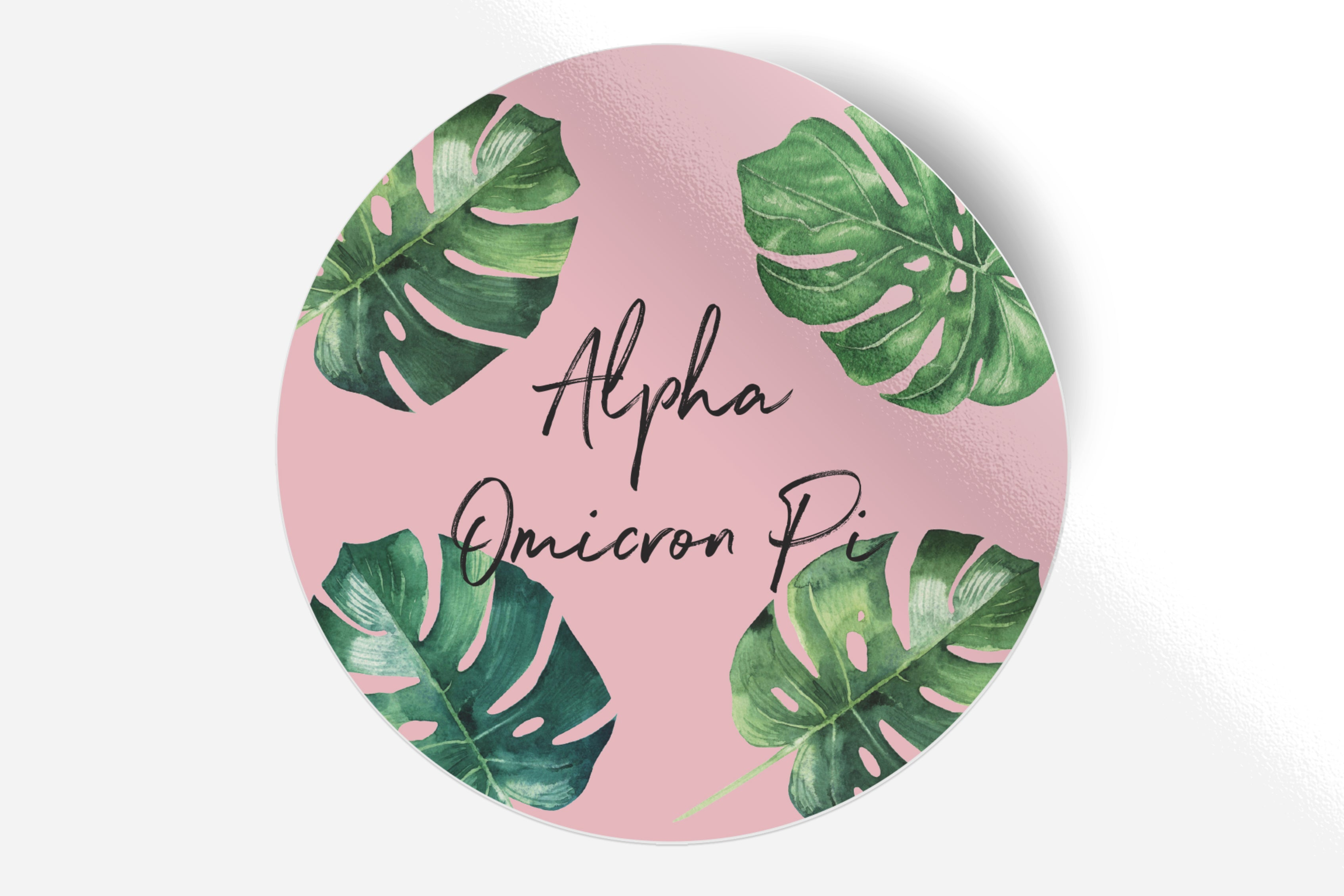 "Alpha Omicron Pi - Pink Palm - 5"" Round Sticker"