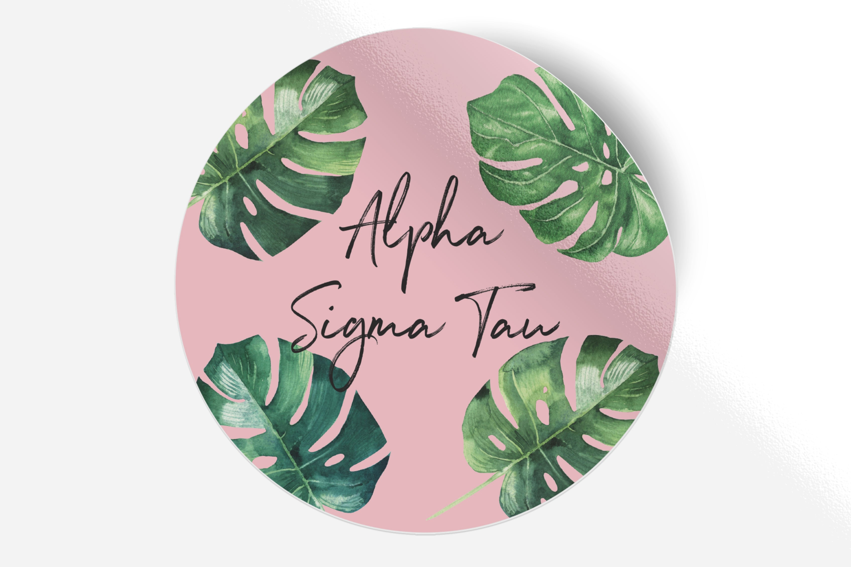 "Alpha Sigma Tau - Pink Palm - 5"" Round Sticker"