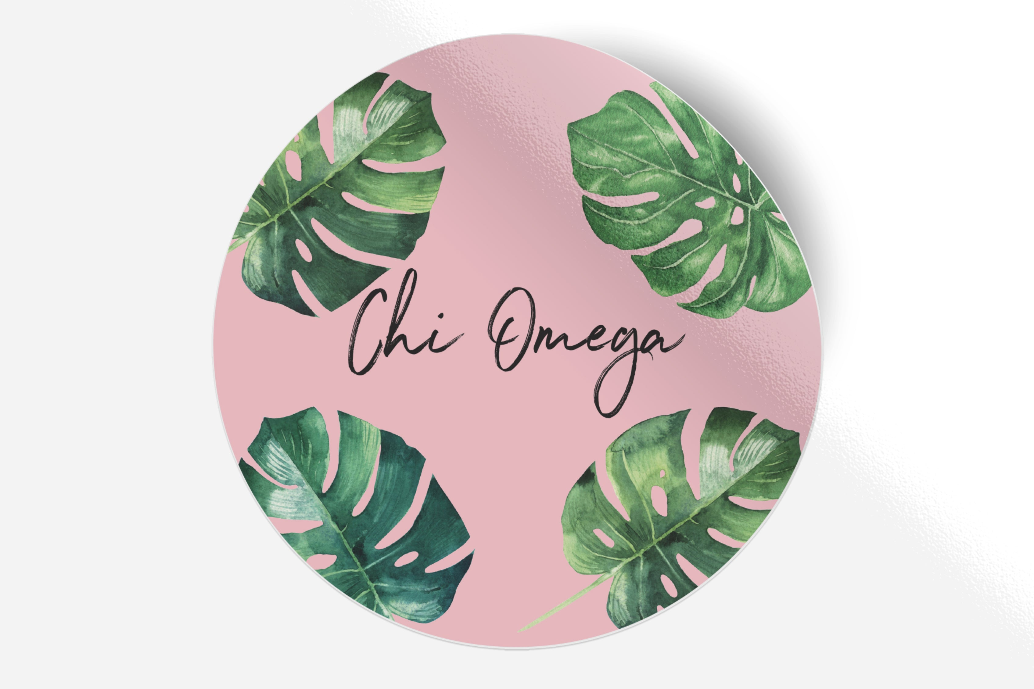 "Chi Omega - Pink Palm - 5"" Round Sticker"