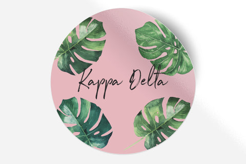 "Kappa Delta - Pink Palm - 5"" Round Sticker"