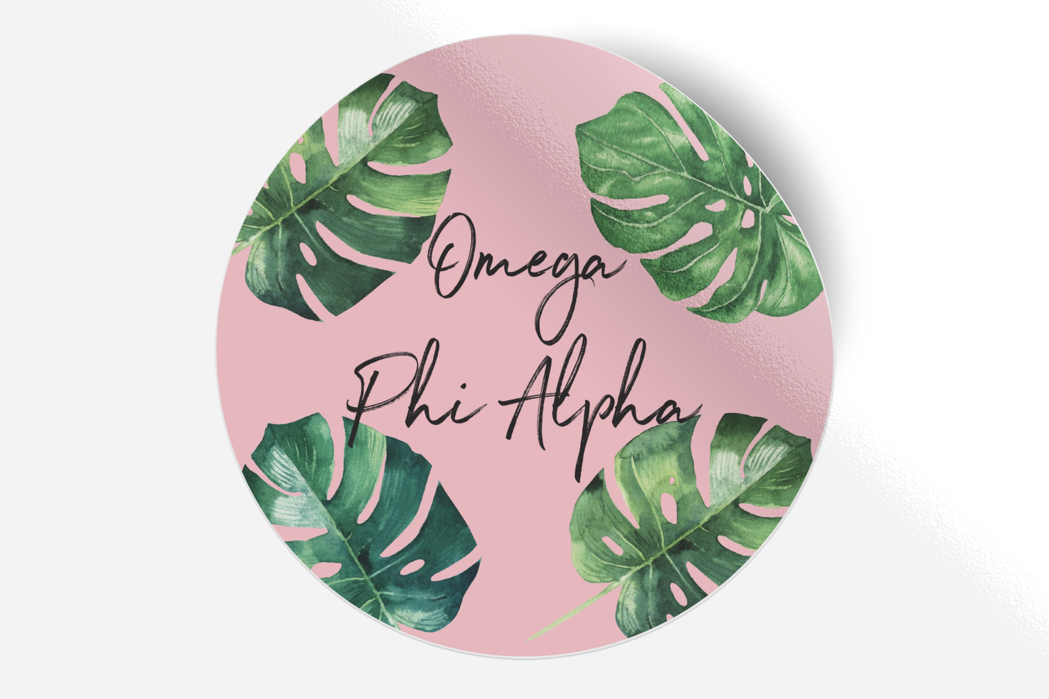 "Omega Phi Alpha - Pink Palm - 5"" Round Sticker"
