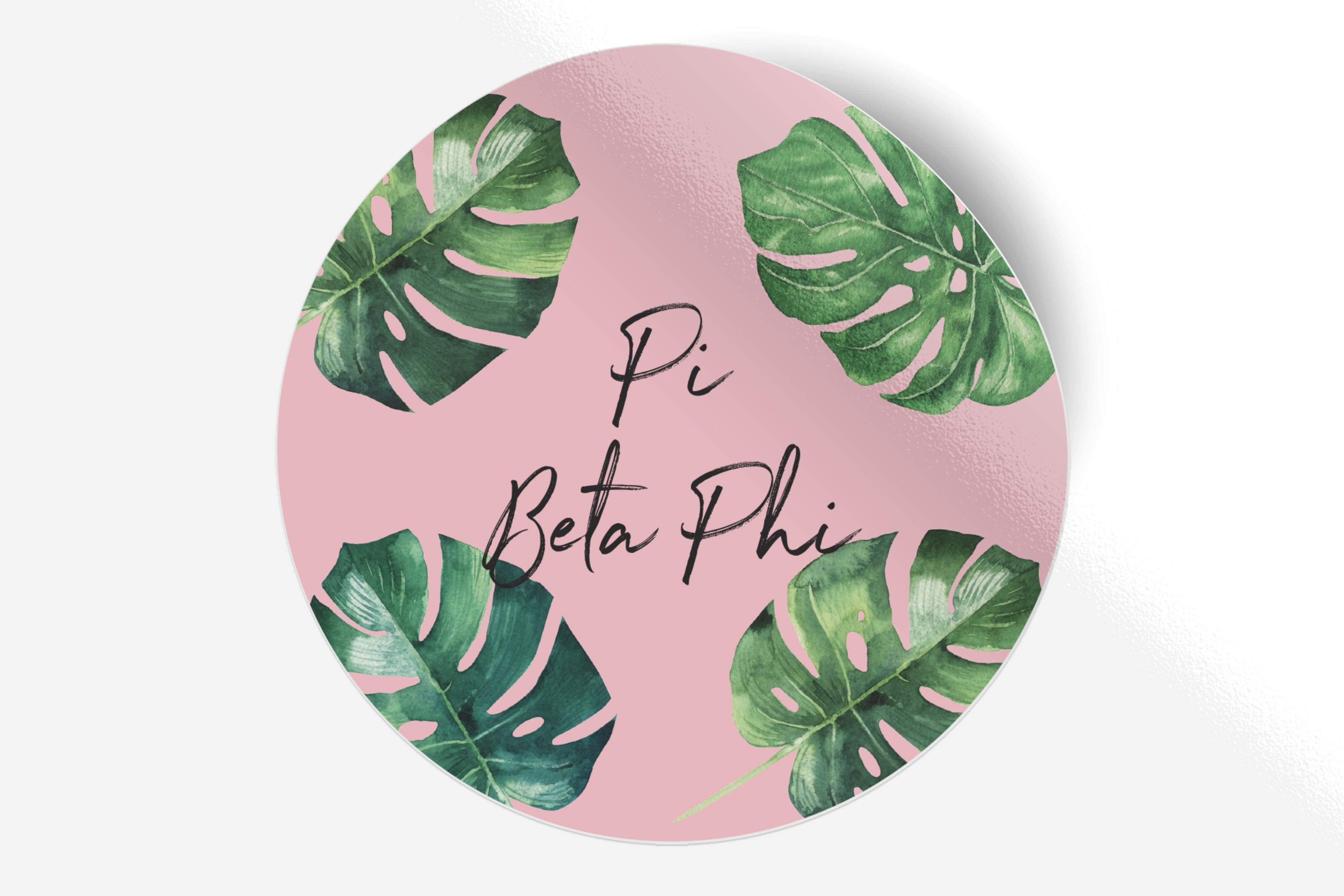 "Pi Beta Phi - Pink Palm - 5"" Round Sticker"