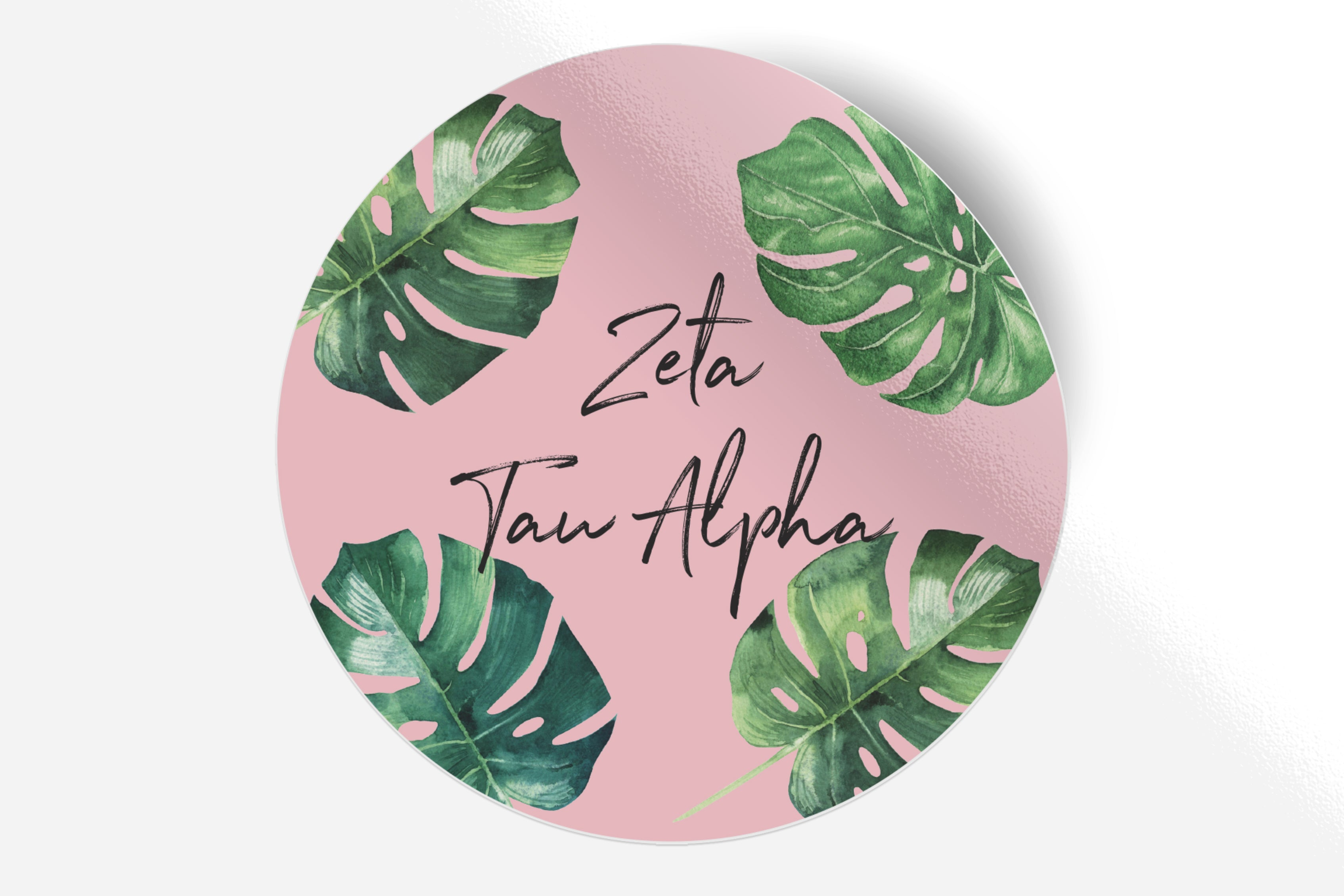 "Zeta Tau Alpha - Pink Palm - 5"" Round Sticker"