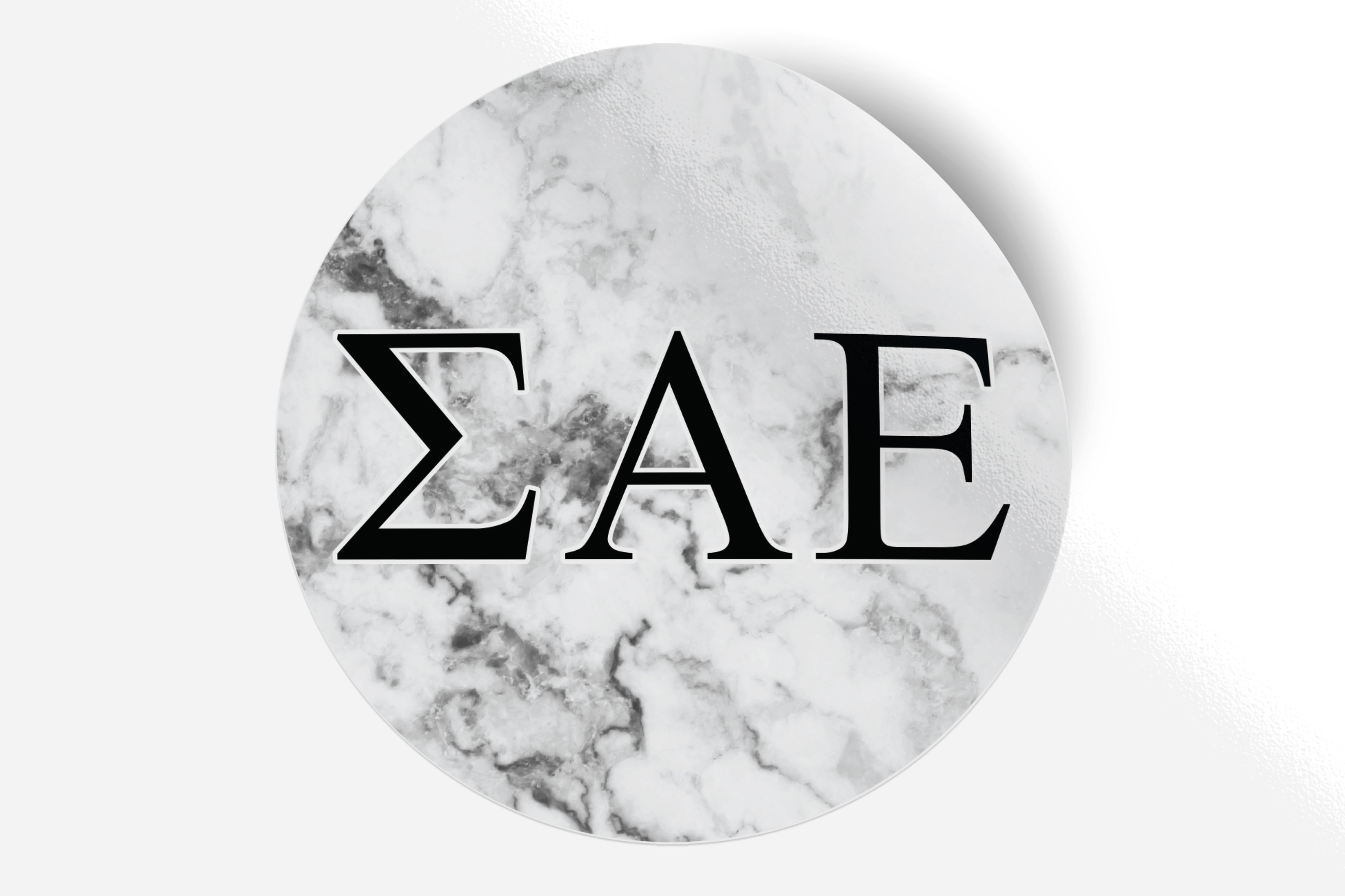 "Sigma Alpha Epsilon - White Marble - 5"" Round Sticker"