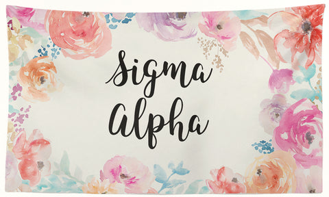Sigma Alpha Epsilon - New Floral - 3' x 5' Flag