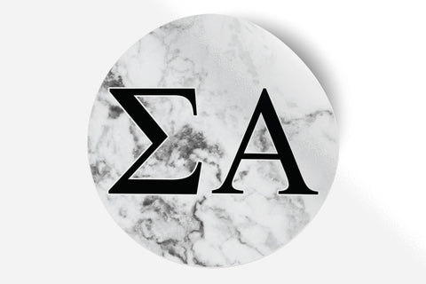 "Sigma Alpha - White Marble - 5"" Round Sticker"