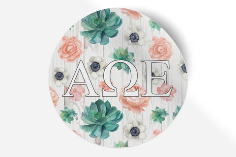 "Alpha Omega Epsilon - Succulents Floral - 5"" Round Sticker"