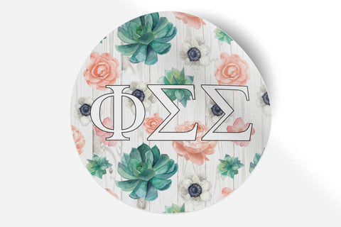 "Phi Sigma Sigma - Succulents Floral - 5"" Round Sticker"