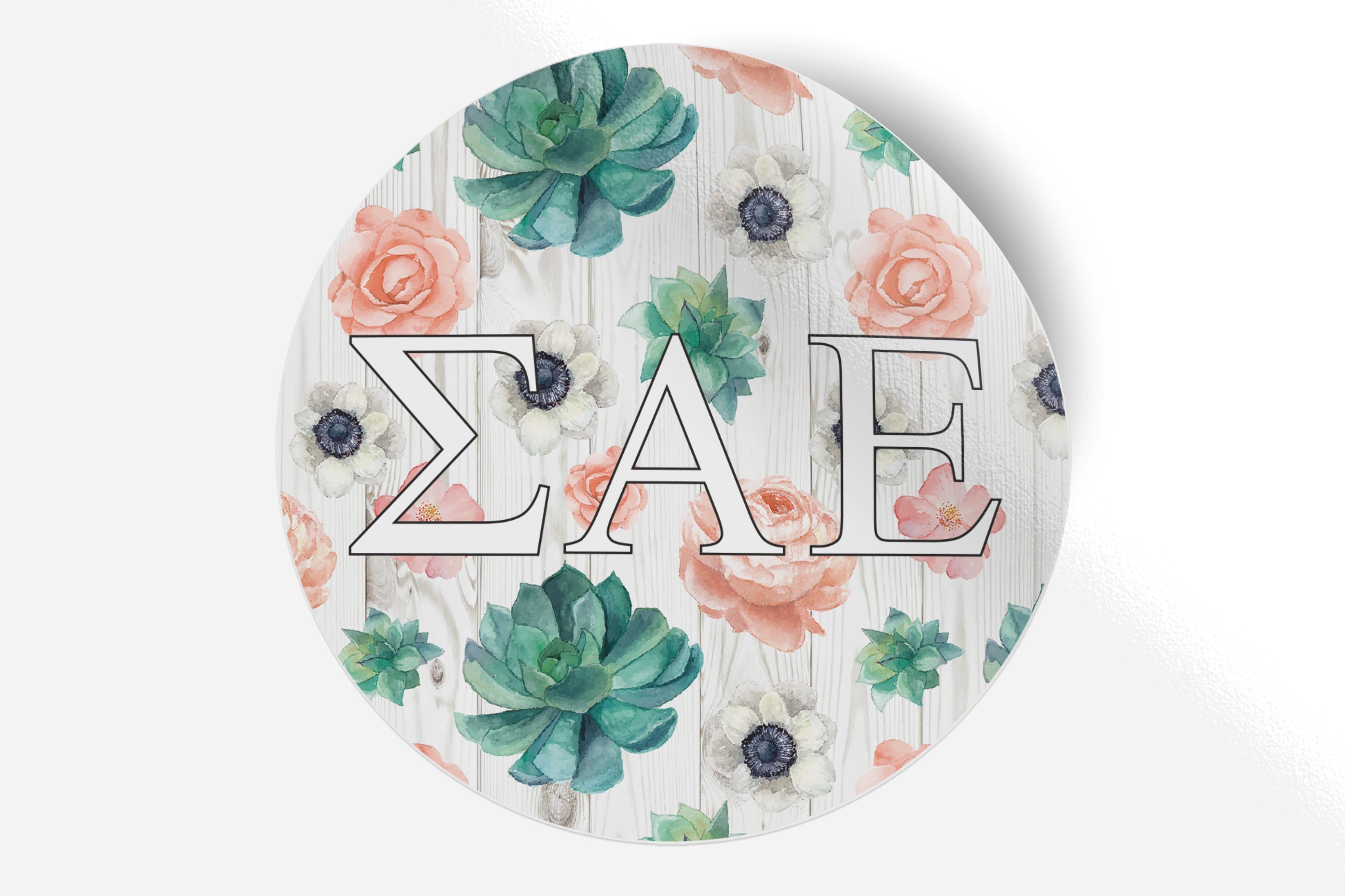 "Sigma Alpha Epsilon - Succulents Floral - 5"" Round Sticker"