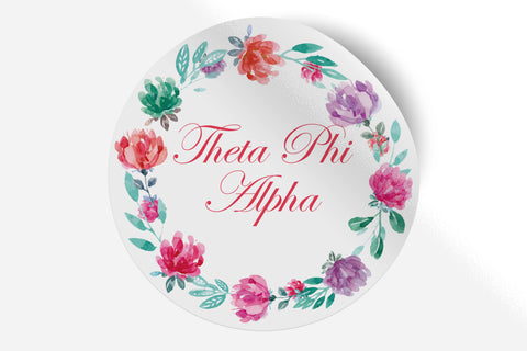 "Theta Phi Alpha - Watercolor Floral - 5"" Round Sticker"