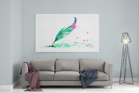 "Watercolor Plume - 24"" x 36"" Stretched Canvas"