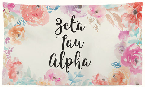 Zeta Tau Alpha - New Floral - 3' x 5' Flag