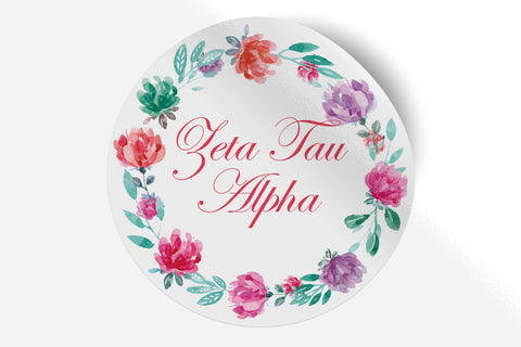 "Zeta Tau Alpha - Watercolor Floral - 5"" Round Sticker"