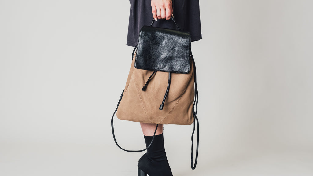 Sydney in Suede Backpack - Sand