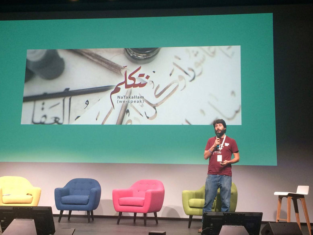 NaTakallam co-founder, Reza, rockin' it during the Techfugees summit in Paris, 2017