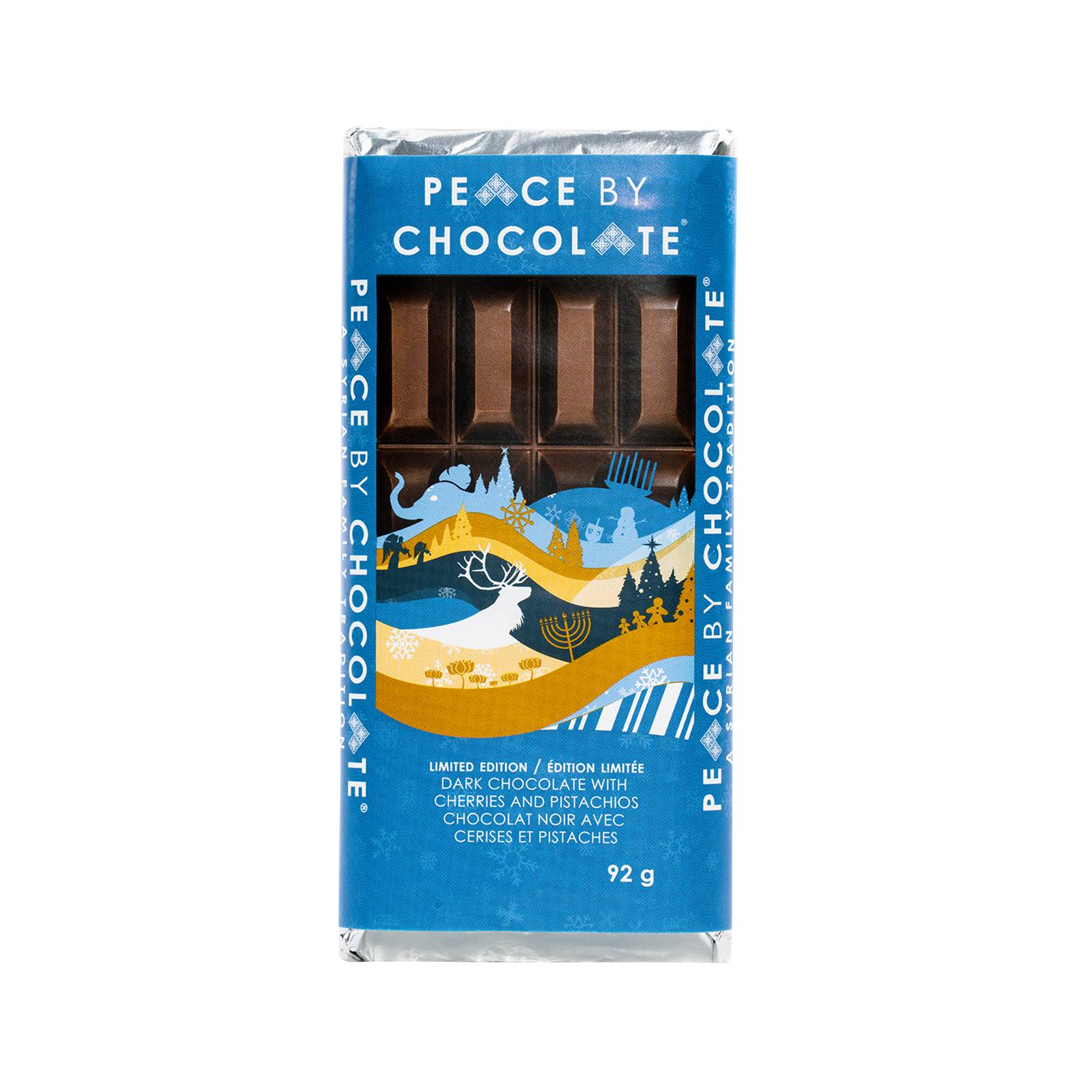 Holiday Bar — Dark Chocolate with Pistachios and Dried Cherries