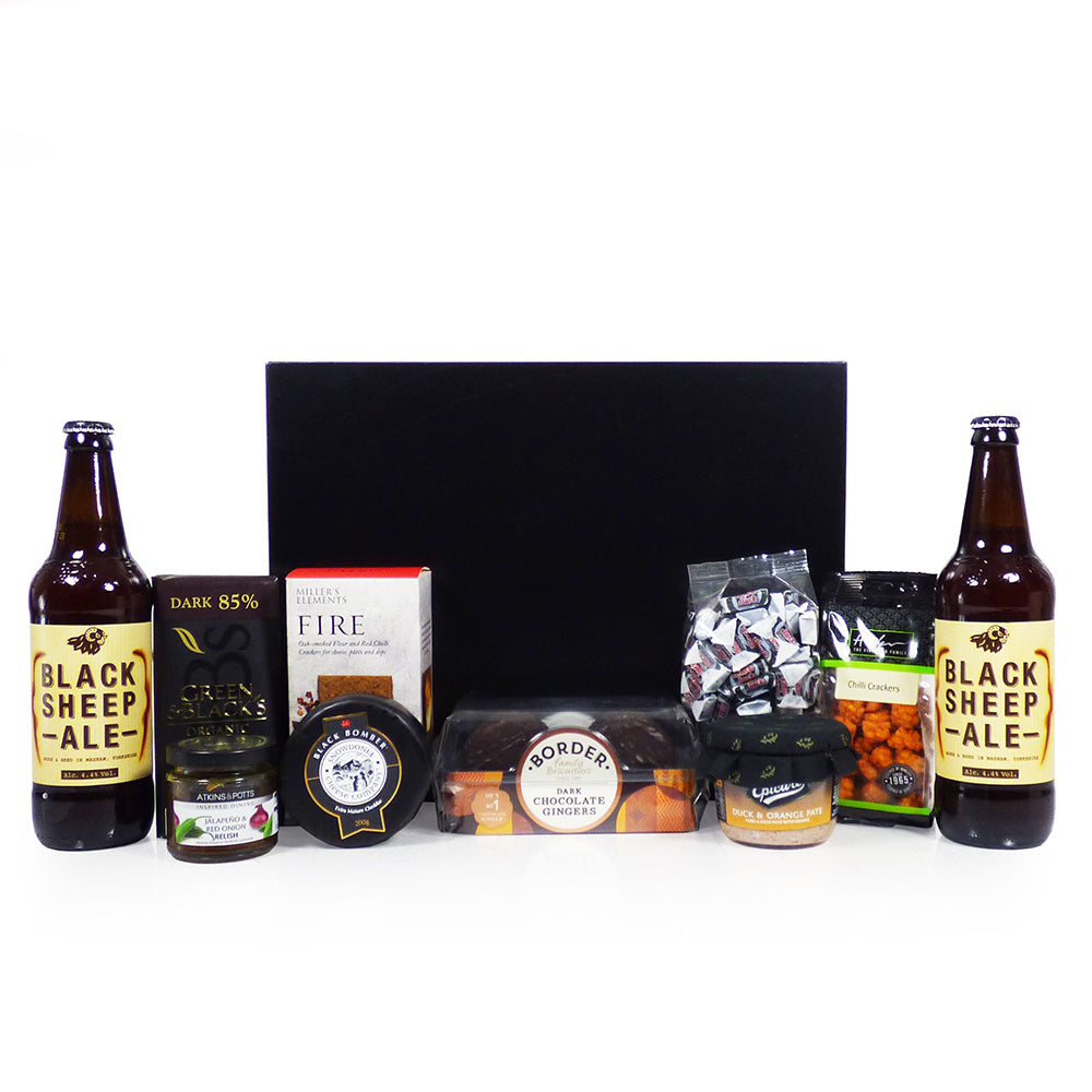 Valentine's Day Gifts: Gents Ale and Nibbles Food Hamper Presented in a Black Gift Box