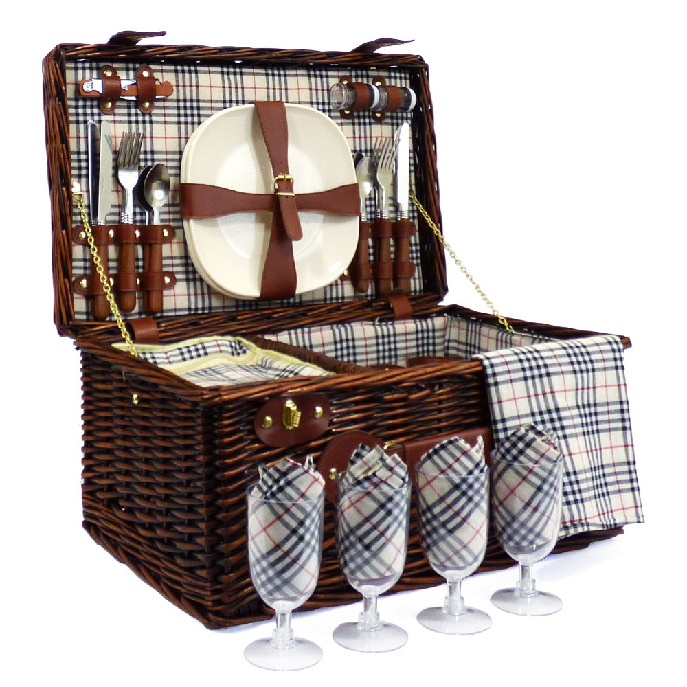 Bromley 4 Person Wicker Picnic Hamper Basket