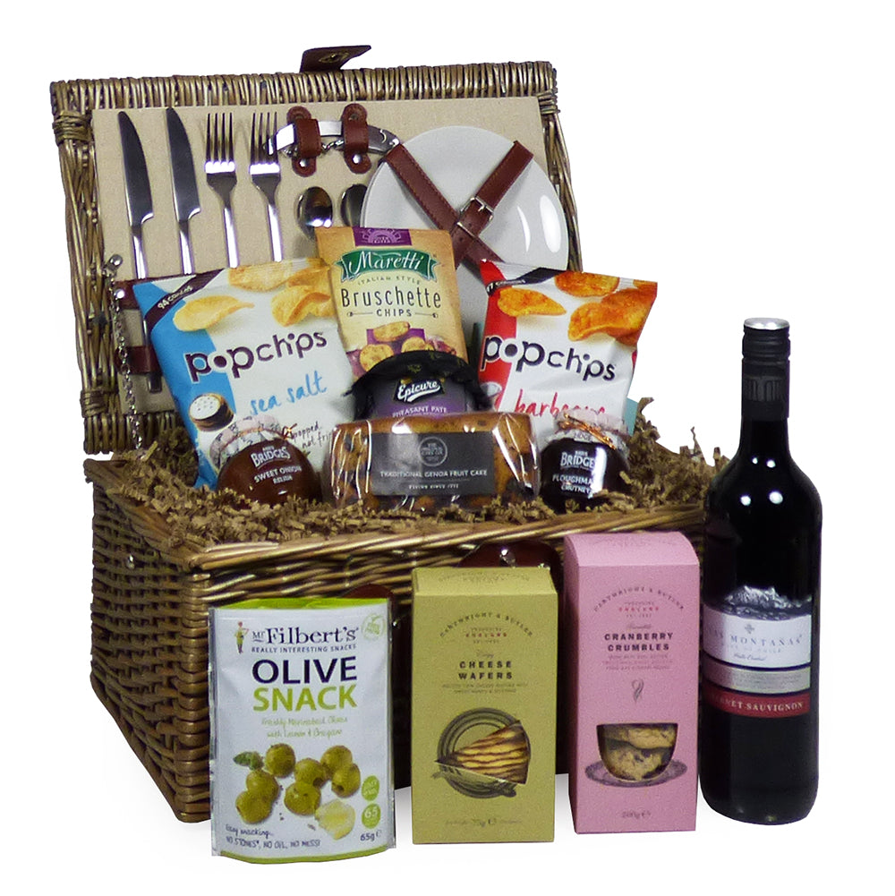 2 Person Cream Chiller Wicker Picnic Basket With Las Montanas Wine and Delicious Food Selection
