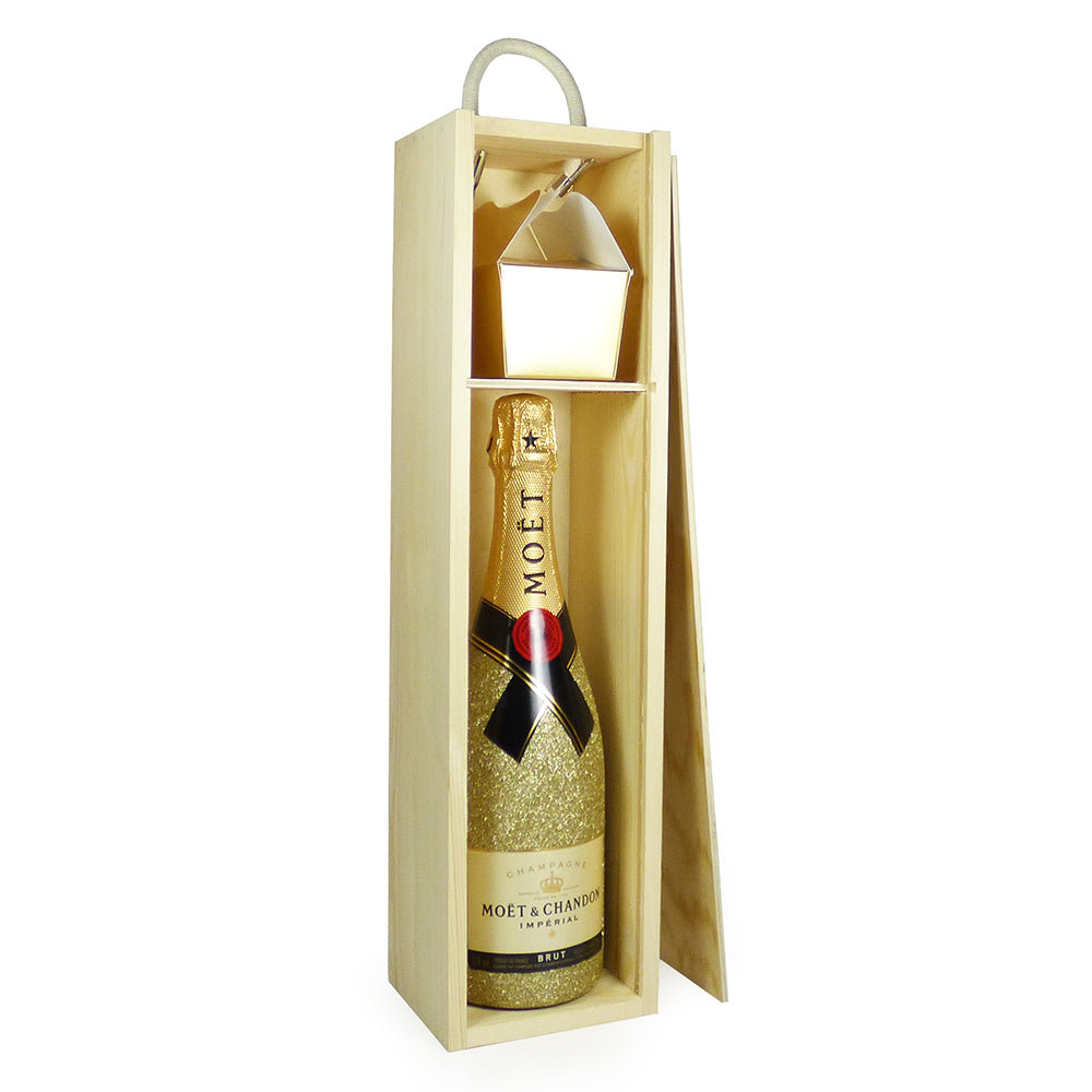 75cl Glitter Effect Moet et Chandon Brut Imperial Champagne with Delicious Belgian Chocolates