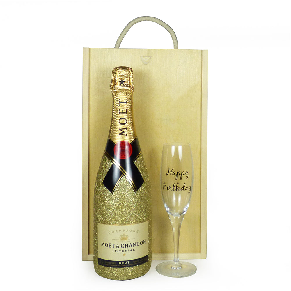 75cl Glittered Moet & Chandon Brut Imperial Champagne with Happy Birthday Champagne Flute