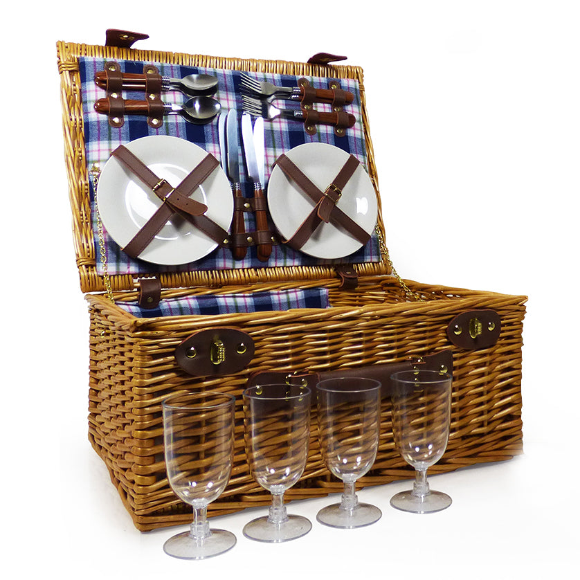 Henley 4 Person Wicker Picnic Hamper Basket & Cream Chiller Bag