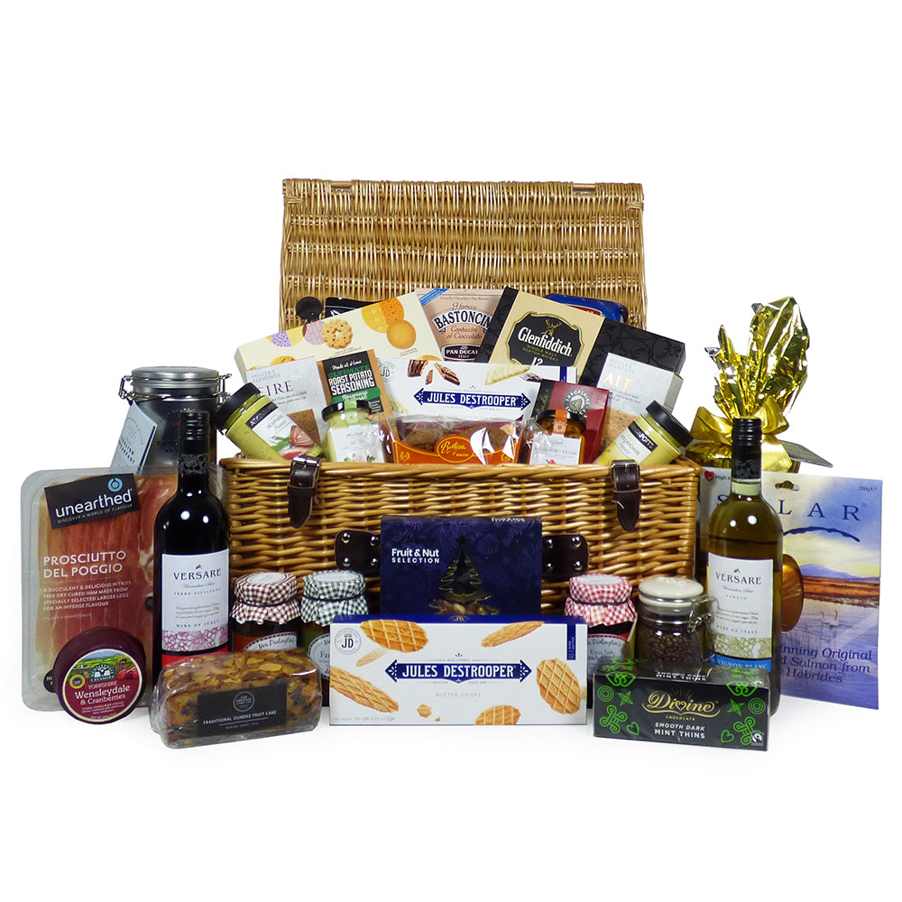 Wine and Luxury Food Gift Hamper - Includes 2 x 75cl Wines and a Gourmet Food Selection