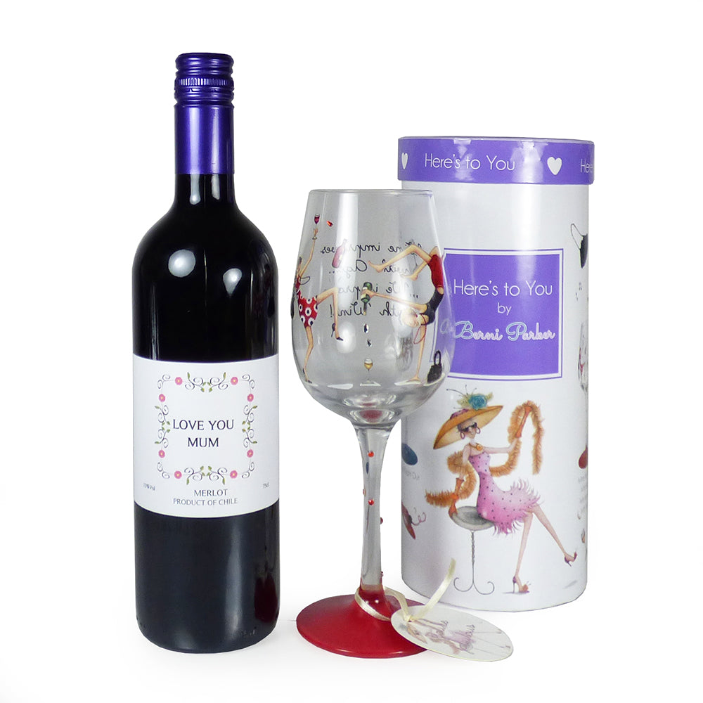 75cl 'Love You Mum' Wine With Novelty Keepsake Wine Glass