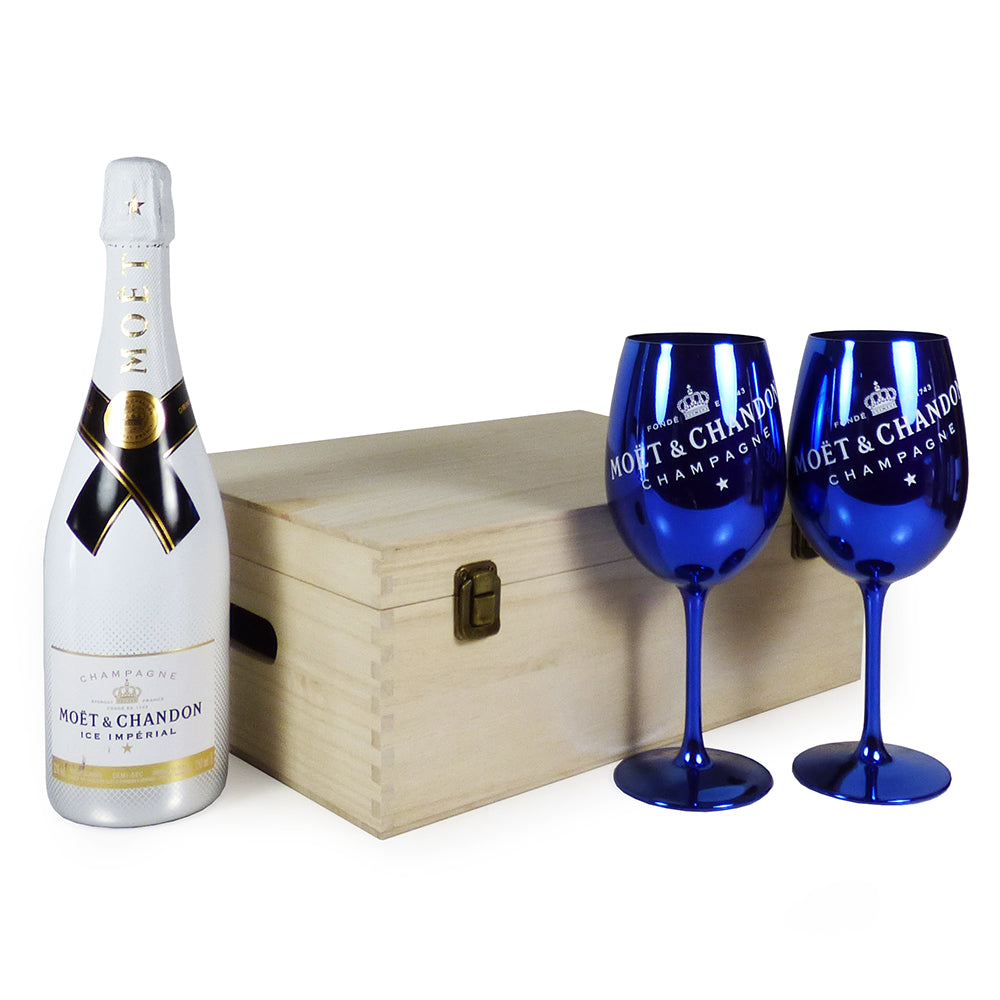 New In: 75cl Moet & Chandon Ice Imperial Champagne with 2 x Moet & Chandon Champagne Goblets in a Wooden Keepsake Gift Box