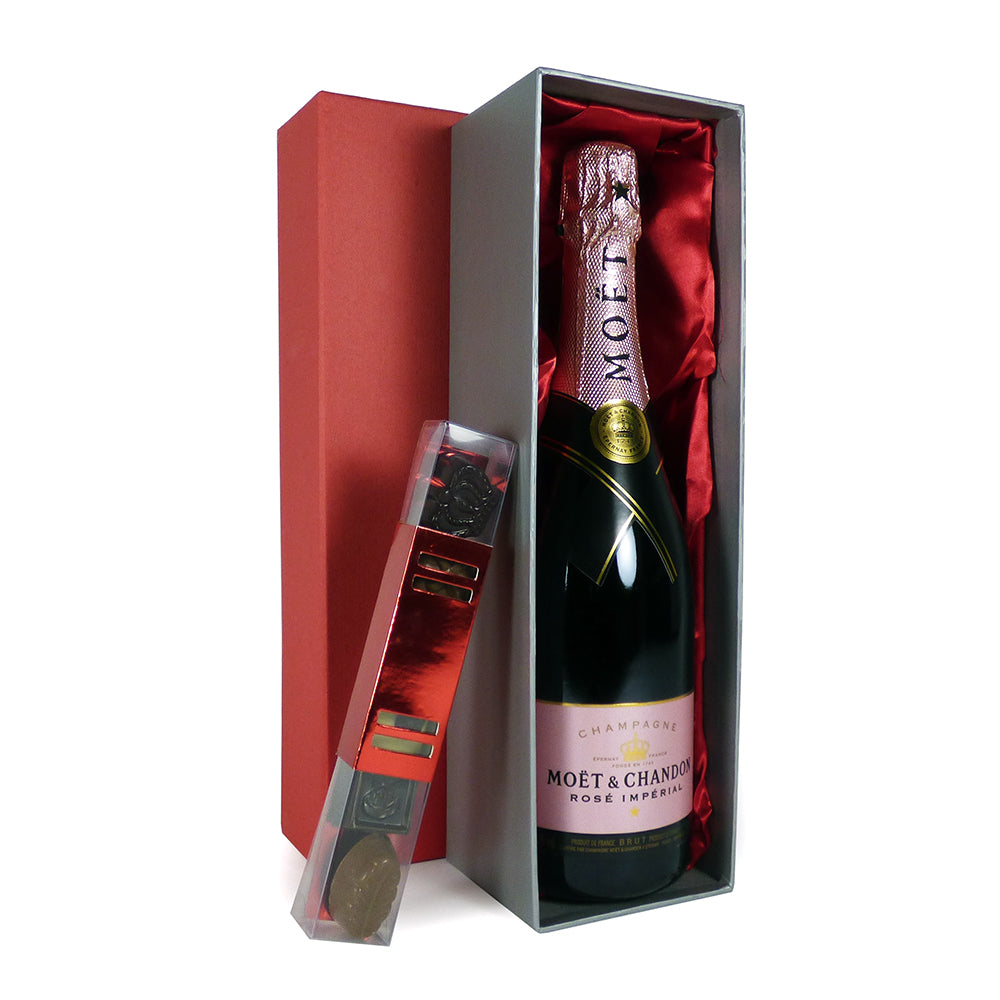 Valentine's Day Gift Idea: 75cl Moet et Chandon Rose Champagne and Belgian Chocolate Gift Set