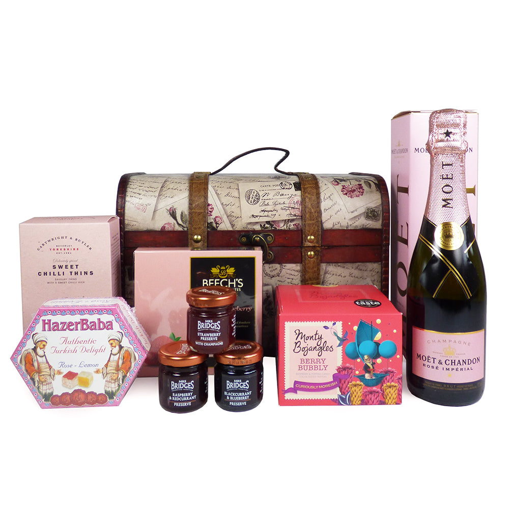 37.5cl Moet et Chandon Rose Champagne and Food Gift Hamper In Beautiful Rose Design Chest