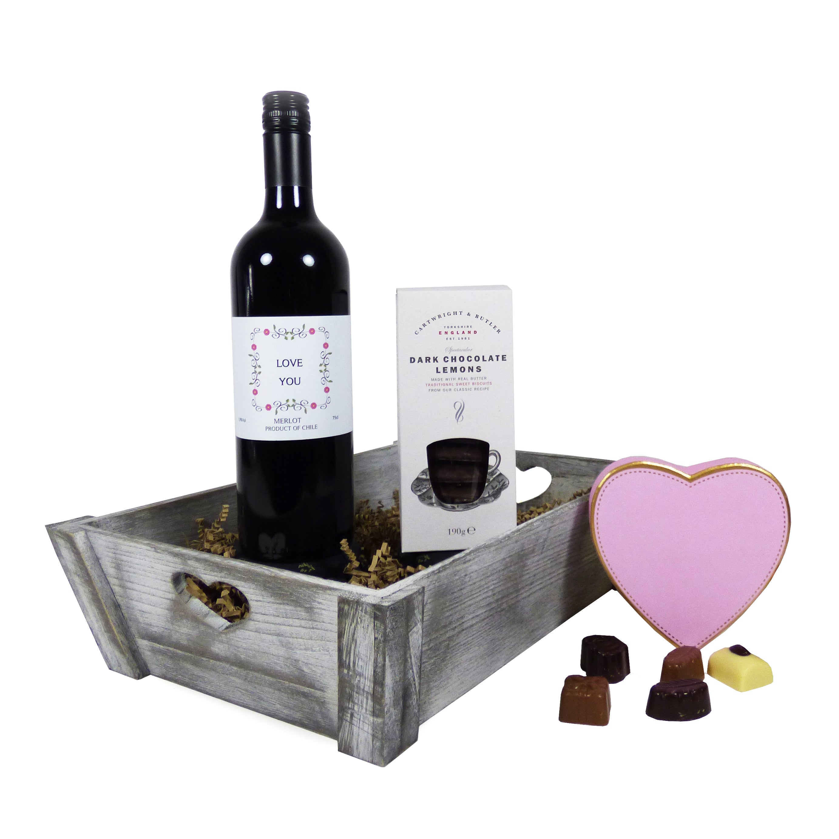 Wine and Chocolate Treats 'Love You' Hamper Gift Tray