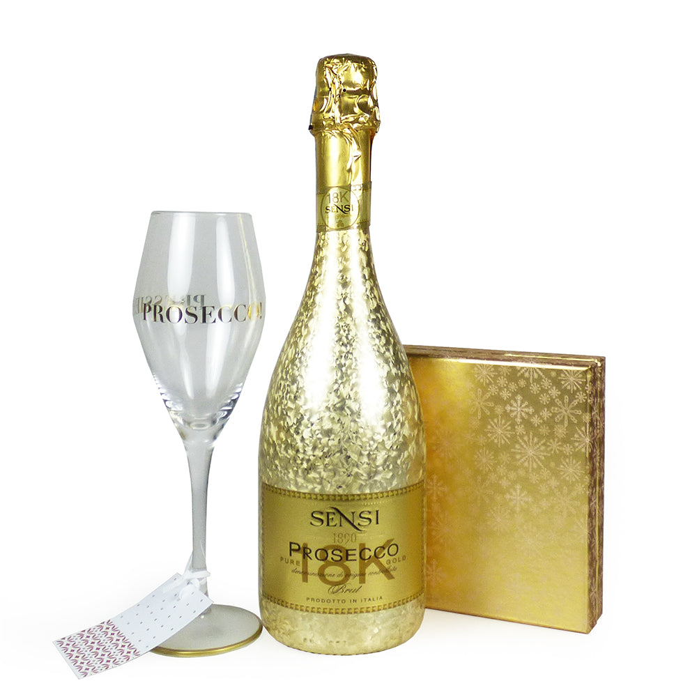 75cl Sensi Prosecco With Stylish Glass Flute and 16 Luxury Belgian Chocolates