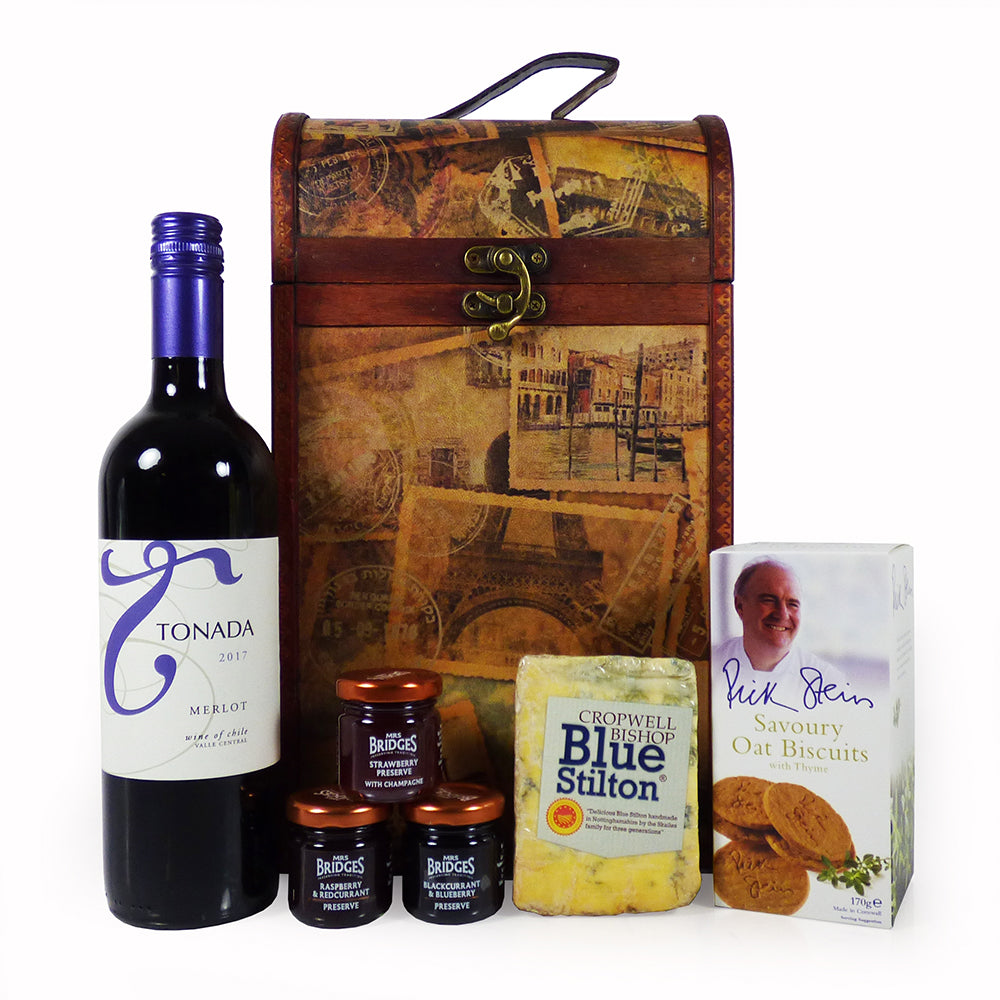 Tonada Wine and Stilton Hamper Presented in our Vintage Style Chest