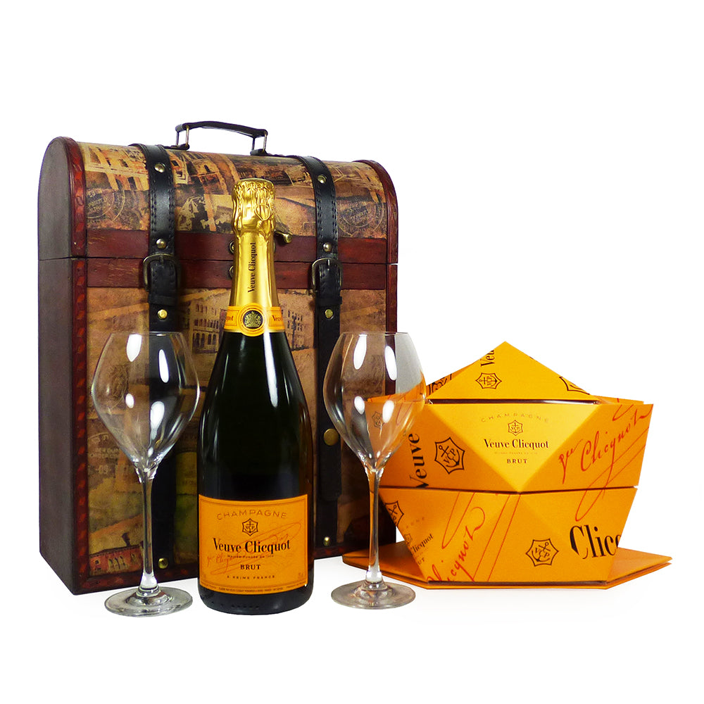 75cl Veuve Clicquot Champagne With Veuve Clicquot Glasses and Folding Ice Bucket - Presented in a Vintage Style Carrier
