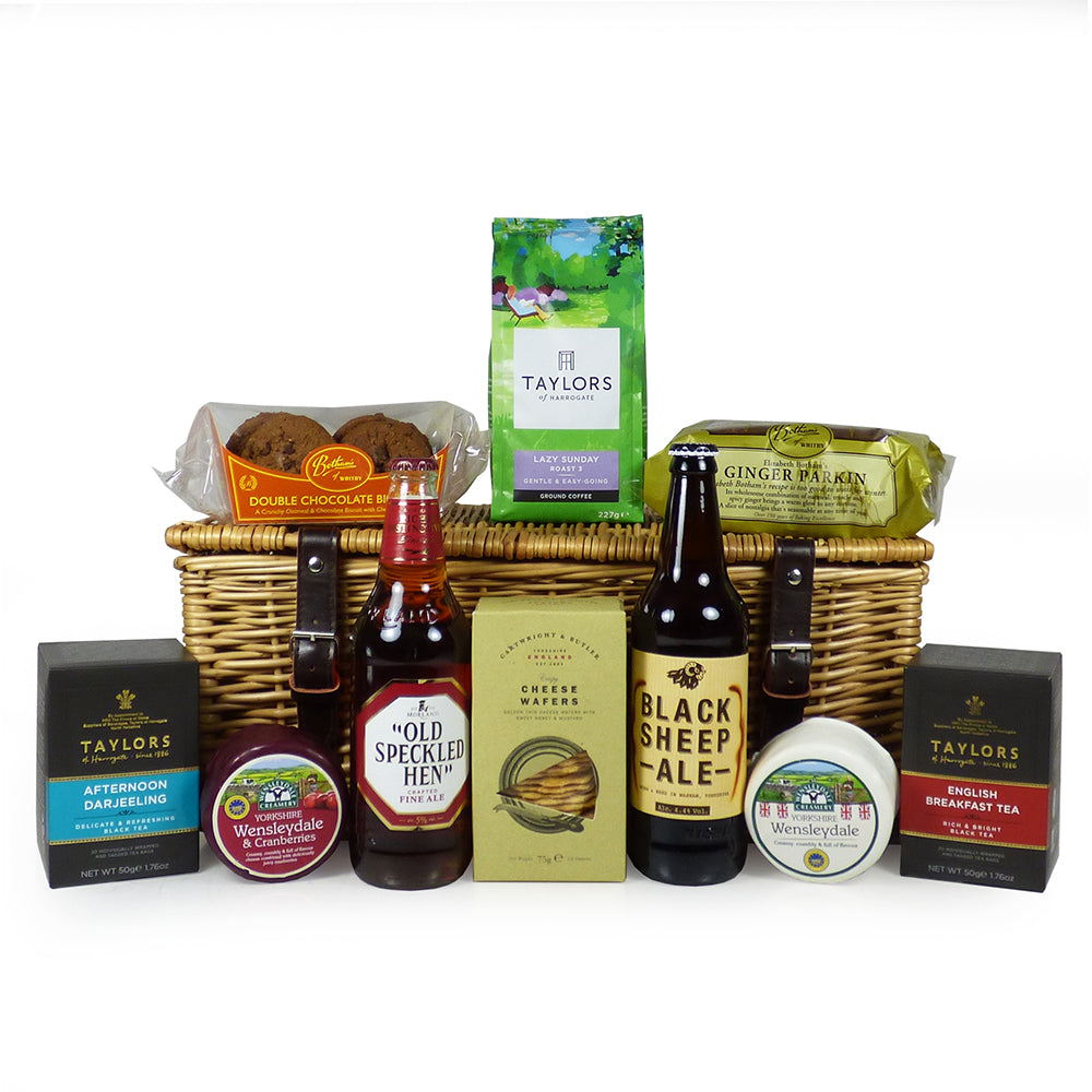 Yorkshire Fine Food and Ale Gift Hamper in a Traditional Style Wicker Basket