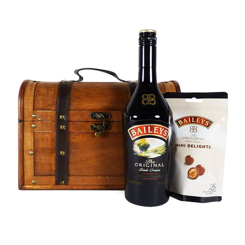 Irresistible Baileys and Chocolate Gift Hamper in a Wooden Chest