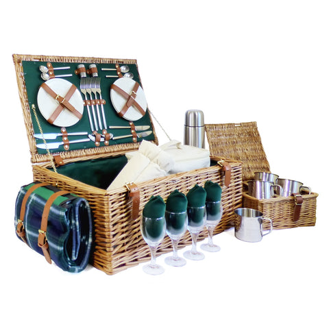 Deluxe Regal 4 Person Picnic Basket with Green Fleece Blanket