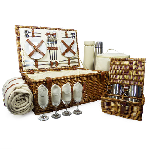 Deluxe Sandringham 4 Person Picnic Basket Hamper