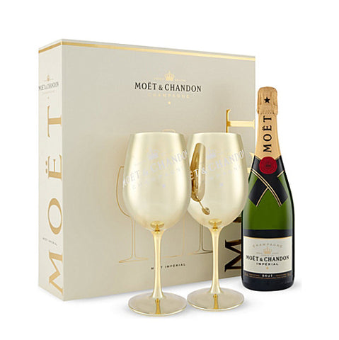 75cl Moet & Chandon Champagne Gift Set with 2 x Branded Golden Goblets