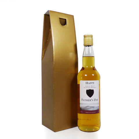 'Happy Father's Day' Single Malt Whisky presented in a Gold Wine Gift Box
