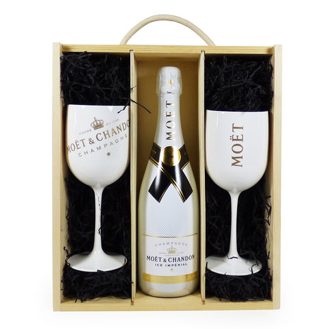 Moet et Chandon Ice Imperial Champagne with 2 Moet Branded Champagne Goblets in a Wooden Presentation Gift Box