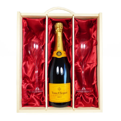 Veuve Clicquot Champagne with 2 x Veuve Branded Champagne Flutes in a Wooden Presentation Gift Box