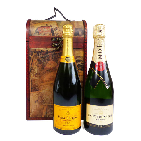 Vintage Champagne Box - Featuring Veuve Clicquot and Moet et Chandon