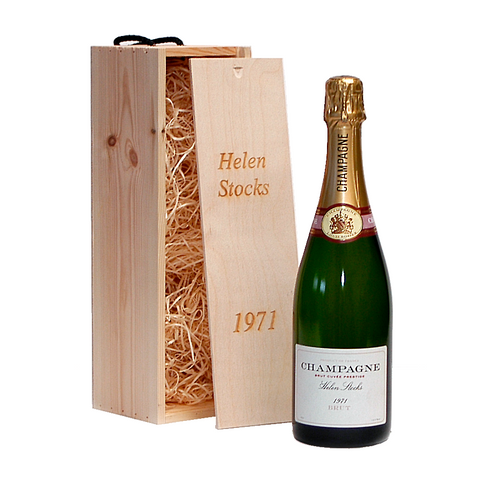 Personalised Champagne In Engraved Wooden Gift Box