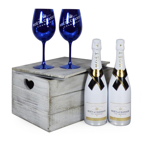 2 x 75cl Moet & Chandon Ice Imperial Champagne with 2 x Moet & Chandon Champagne Goblets in a Wooden Keepsake Chest