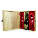 75cl Dom Perignon Champagne With Branded Glass Flutes Presented in a Keepsake Wooden Wine Case